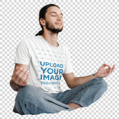 Transparent T-Shirt Mockup Featuring a Man with a Ponytail Meditating in His Bed 44489-r-el2
