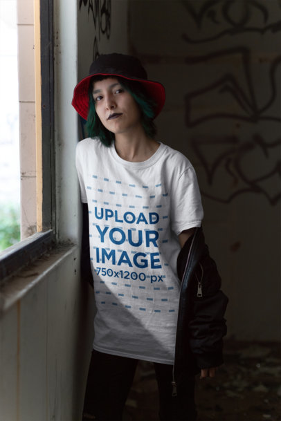 Transparent Mockup of a Goth Girl Wearing a T-Shirt Inside a Dark Room 23433