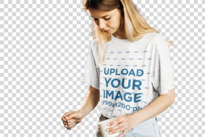 Transparent Mockup of a Barista Wearing a Heathered T-Shirt 34626-r-el2