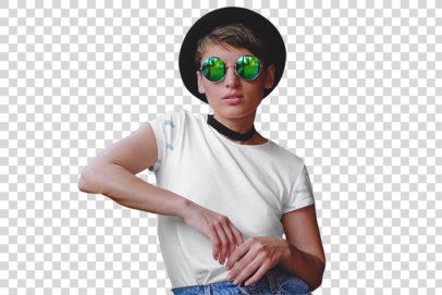 Transparent T-Shirt Mockup Featuring a Serious Woman Wearing a Sublimated T-Shirt in a Tram 39686-r-el2