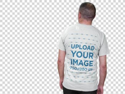 Transparent Back of an Elder Man Taking a Break Wearing a T-Shirt Mockup a10851b