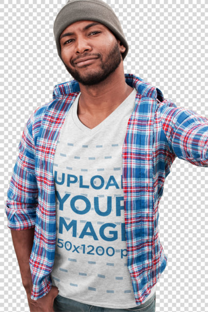Transparent T-Shirt Mockup of a Bearded Man Taking a Selfie in the Park 30287