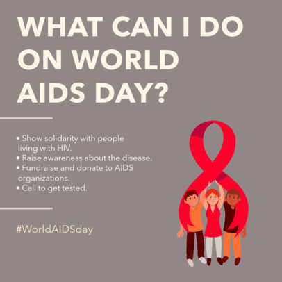 AIDS Awareness-Themed Instagram Post Design Generator With Information for a Carousel 4153b