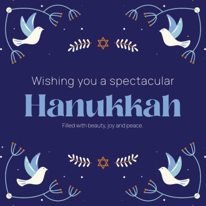 Instagram Post Generator Featuring Hanukkah Greetings and Dove Graphics 4032e