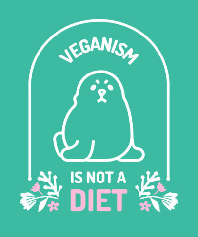 T-Shirt Design Creator Featuring a Quote on Veganism and an Angry Seal Clipart 4487d-el1