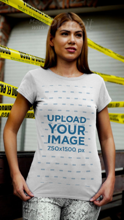 T-Shirt Video Featuring a Woman and Police Tape in the Background 3714v