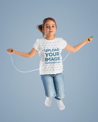 Studio T-Shirt Mockup Featuring a Girl Jumping Rope m17136-r-el2