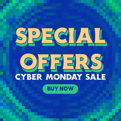 Cyber Monday-Themed Ad Banner Design Template With a Pixelated Background 4143a