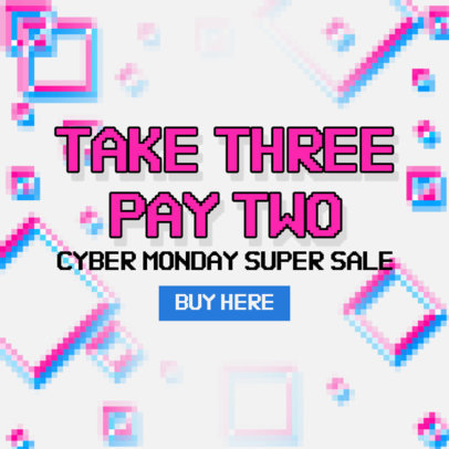 Cyber Monday-Themed Ad Banner Design Generator With a Pixel Art Style 4143f