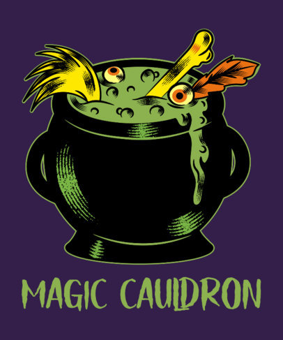 Halloween T-Shirt Design Maker Featuring a Creepy Witch's Cauldron 1567g