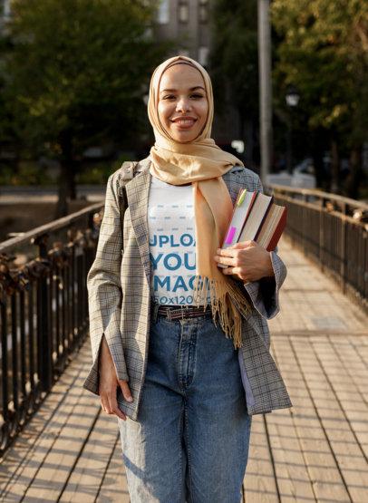T-Shirt Mockup of a Female Student Wearing a Hijab M14020-r-el2