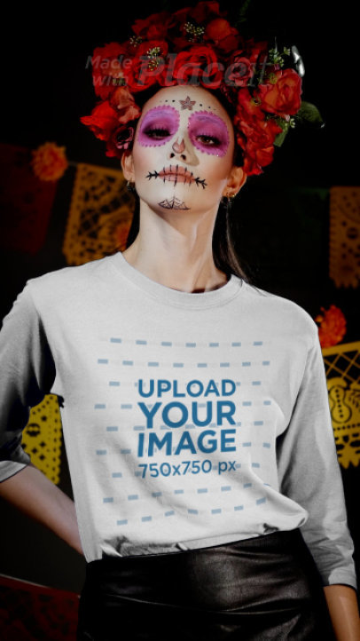 3/4 Sleeve Tee Video of a Woman in a Catrina Costume 4144v