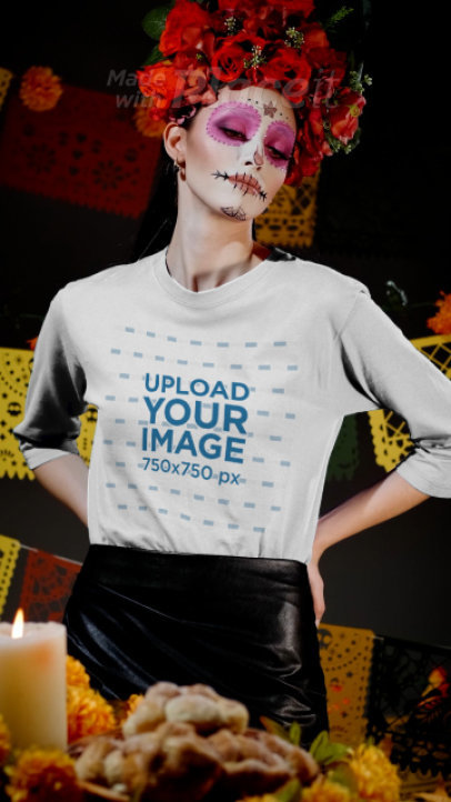 3/4 Sleeve T-Shirt Video of a Woman with Catrina Makeup for the Day of the Dead 4146v