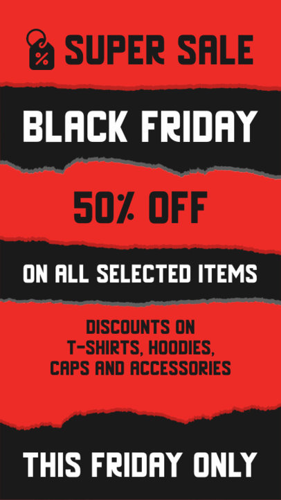 Instagram Story Design Template with Info About Black Friday Discounts 4540-el1