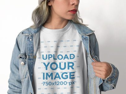 Cropped Face Woman Wearing a Crewneck Sweatshirt Template and a Denim Jacket a17654