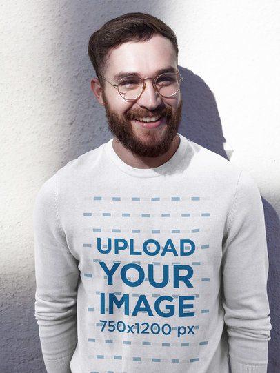 Happy Professor Wearing a Crewneck Sweatshirt Template a17731