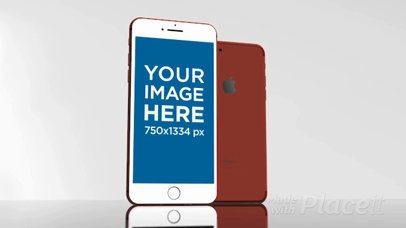 Red iPhone Video Mockup Standing on a Glass Surface a15674