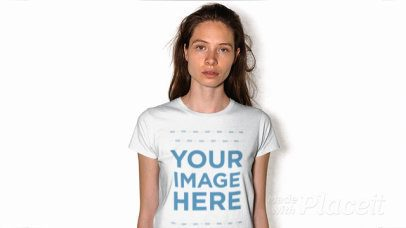 White Girl Wearing Round Neck Tshirt Stop Motion Against White Background a13188