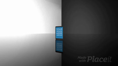 Black iPad All Demo Video Standing on a Glass Surface in Portrait Position Against a White Background a15732b