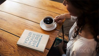Ebook Stop Motion of a Girl Having A Coffee While Book Lying On Table a13662