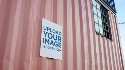 Flyer Video Mockup Glued To A Container Wall a13772