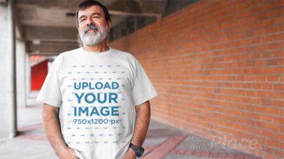 Video of an Elder Man with a Beard Wearing a Round Neck T-Shirt a12765