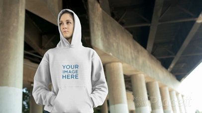Girl Wearing a Pullover Hoodie Video at an Industrial Location a13194