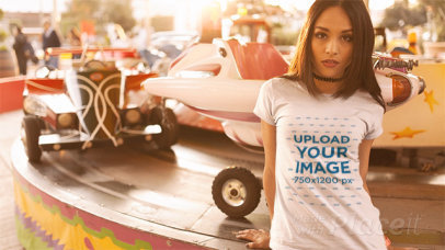 Girl at an Amusement Park Wearing a Tshirt Stop Motion and a Choker a13510