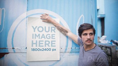 Hipster Young Man Holding a Poster in Stop Motion on a Foodtruck a13656