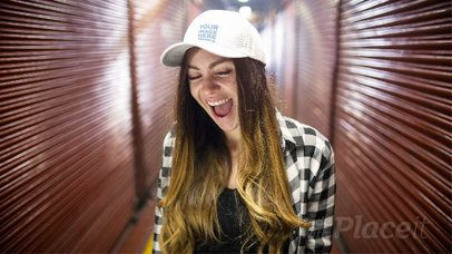 Young White Girl Wearing a Hat in Stop Motion While Having Fun in a Hallway a13702