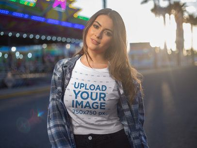 Gorgeous Woman Wearing a Crop Top T-Shirt Mockup Outdoors a19434