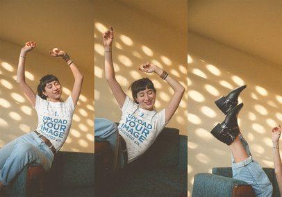 Girl Falling on a Sofa Wearing a T-Shirt Mockup a19001