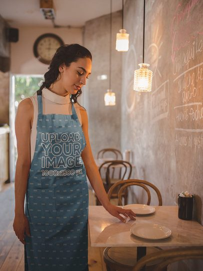 Apron Mockup of a Pretty Woman in a Restaurant Setting a19801