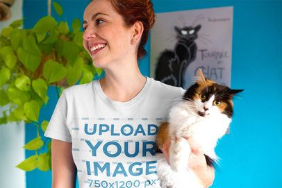 Happy Woman Wearing a Round Neck Tee Mockup Holding a Cat a18989