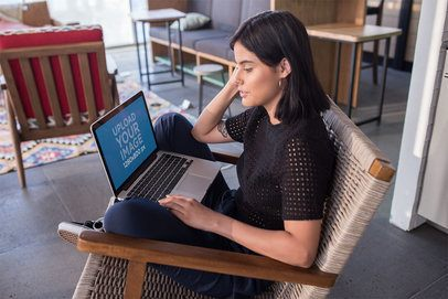 Girl Working with a MacBook Pro Mockup Sitting Outside a20766