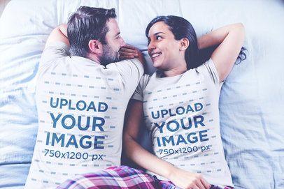 Loving Couple Wearing Tshirts Mockup Waking Up on Bed a20603