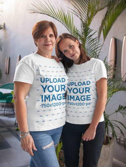 Mom and Daughter Wearing T-Shirts Mockup Near a Palm a20718