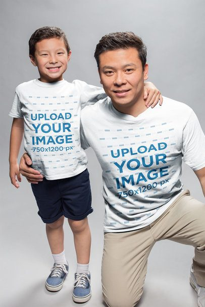 T-Shirt Mockup of a Dad and Son in a Photo Studio a20954