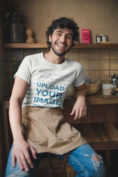 T-Shirt Mockup of a Waiter Chilling at Work a20483