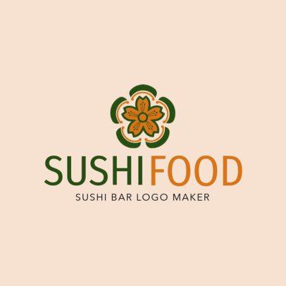 Custom Logo Maker for Sushi Restaurants with Flower Icon 1215e