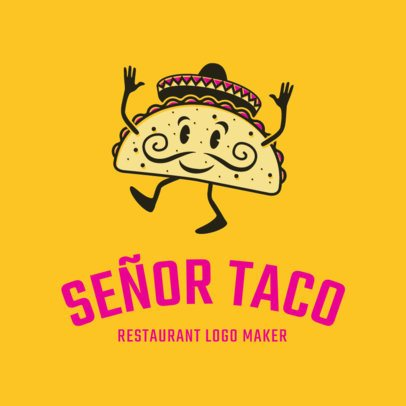 Mexican Restaurant Logo Maker with Taco Graphic 1195d