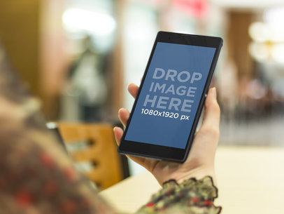 Android Mockup Template of Woman at the Mall