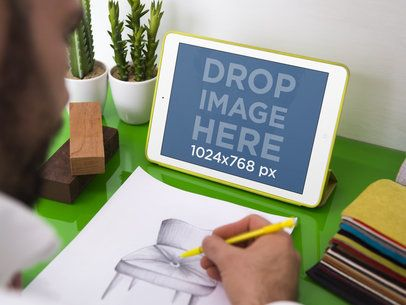 Mockup Template of Graphic Designer Sketching With iPad