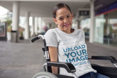 Round Neck Tee Mockup Featuring a Woman Sitting on a Wheelchair a21362