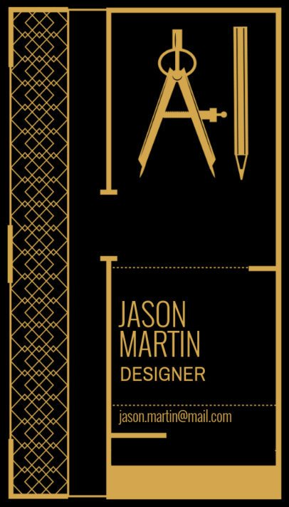 Business Card Maker for a Designer with Design Icons 306b