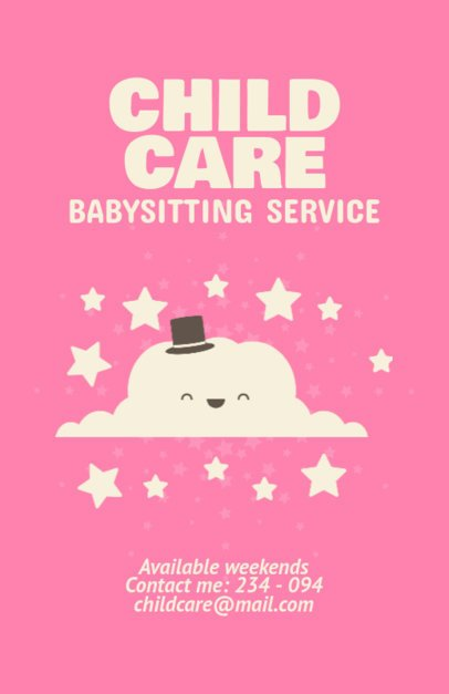 Flyer Maker for Babysitting Services with Cloud Clipart 349b