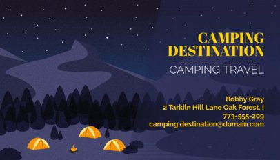 Travel Agency Business Card Maker with Camping Illustration 340d