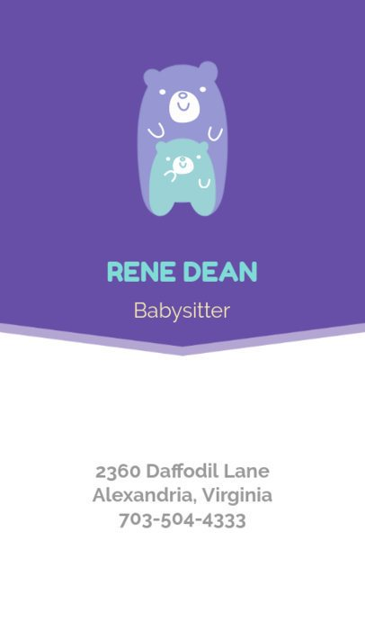 Business Card Maker for Babysitting Business Cards 354a