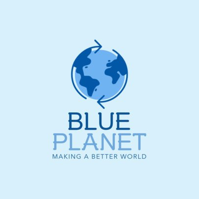 Crowdfunding Logo Maker for Recycling Companies with Blue Graphics 1055b