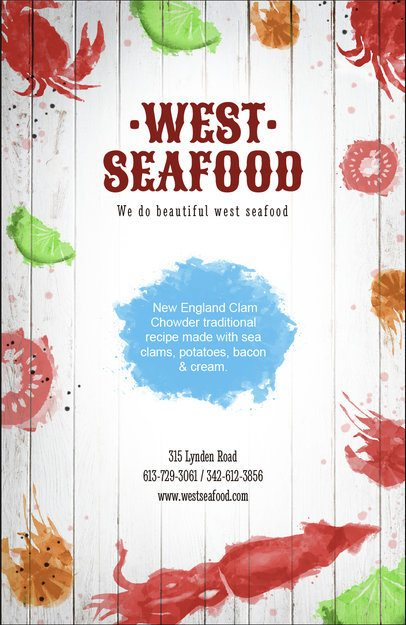Flyer Maker for Seafood Restaurants with Watercolor Graphics 392